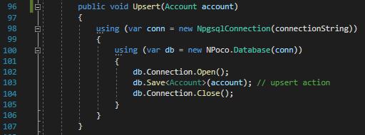 Npoco + CRDB Upsert details